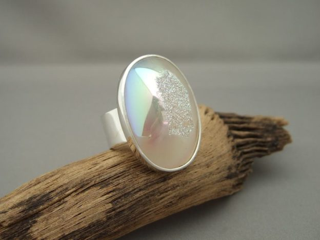Titanium Coated Cream Drusy Agate and Sterling Silver Ring