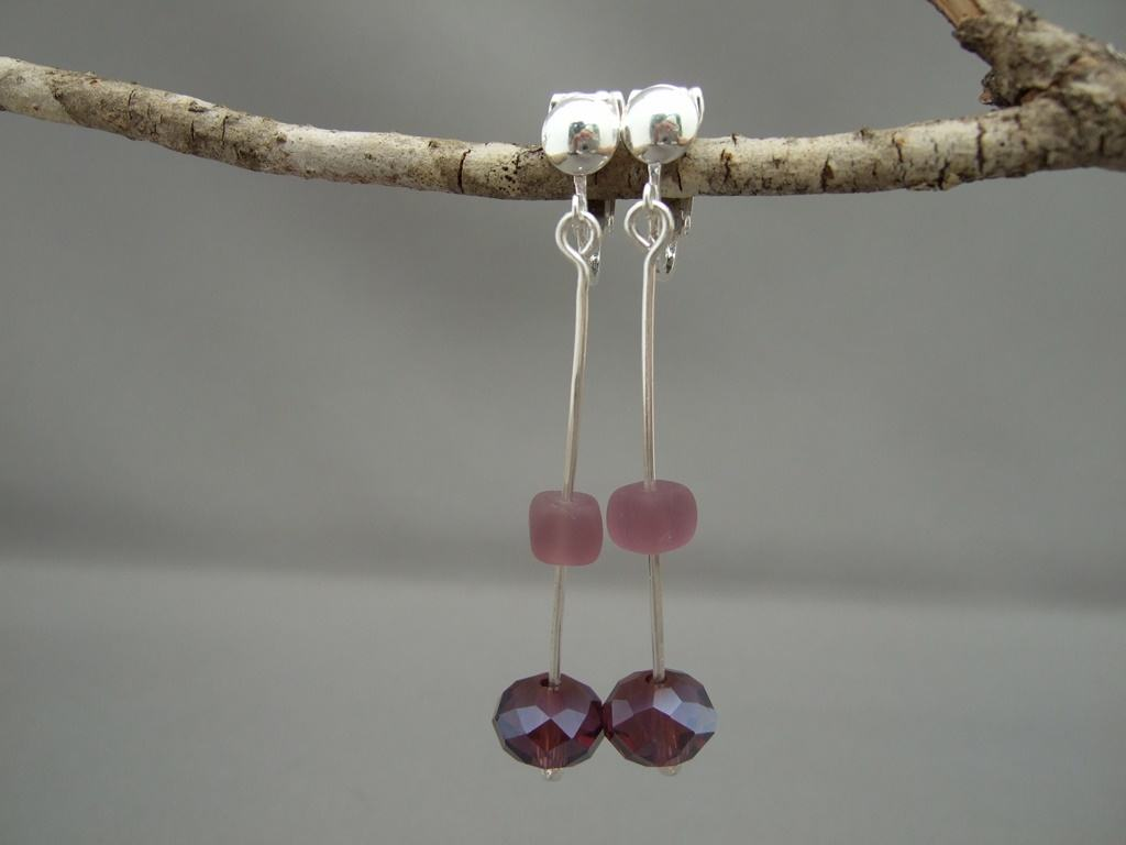 Acai Purple Czech Glass and Sterling Silver Clip On Earrings