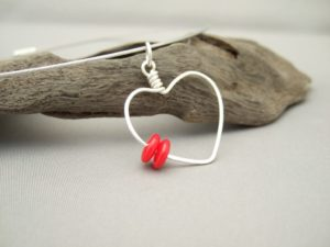 Valentine's Red Heart Pendant. Sterling Silver Modern Contemporary Drop Pendant.