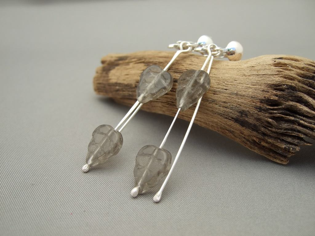 Grey Czech Glass Leaf and Sterling Silver Clip-On Dangle Earrings