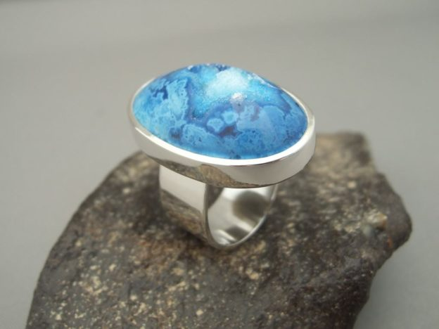 Big Blue Drusy Agate and Sterling Silver Ring