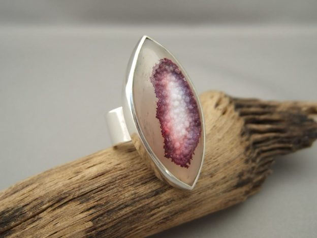 Pink & Purple Drusy Agate and Sterling Silver Ring