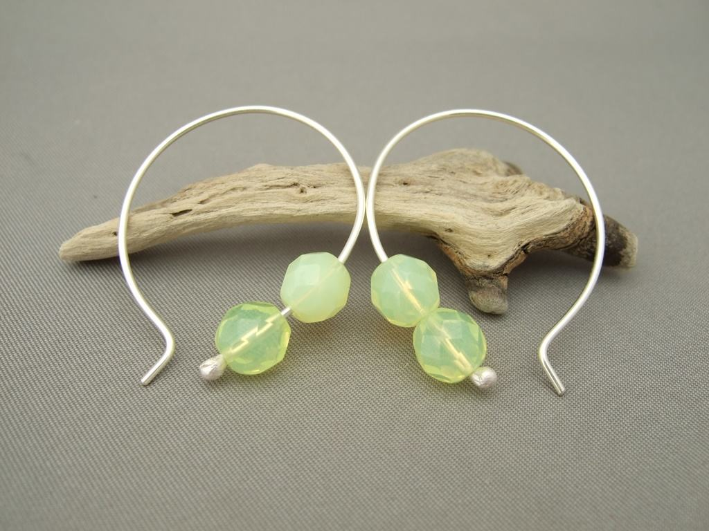 Jonquil Yellow Czech Glass and Sterling Silver Hoop Earrings