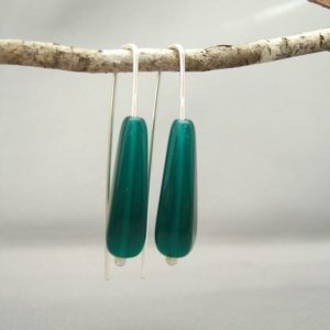 Midori Green Oblong Teardrop Czech Glass Sterling Silver Modern Earrings