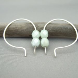 Eau De Nil Palest Green Czech Glass and Sterling Silver Modern Round Hoop Earrings