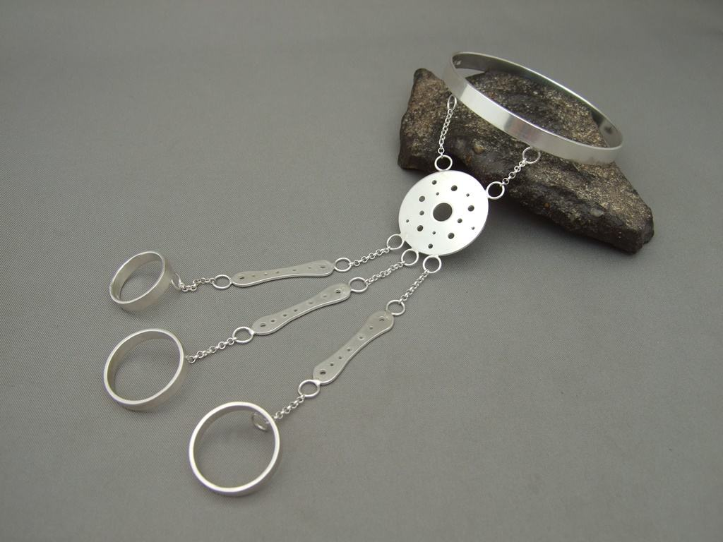 Sterling Silver Attached Bracelet and Ring Set