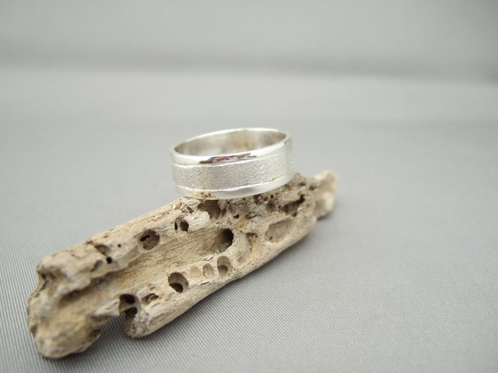 Textured Band Sterling Silver Wedding Ring