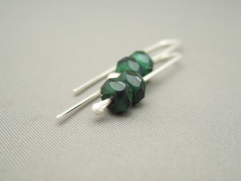 Adder Green Czech Glass and Sterling Silver Earrings