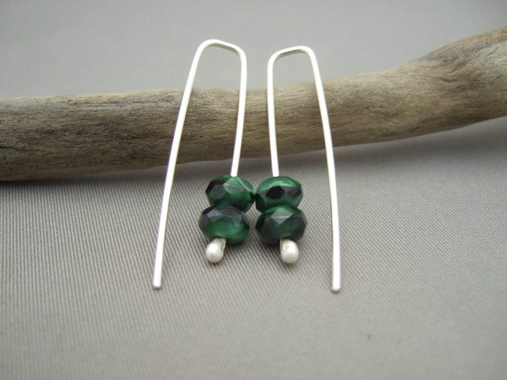 Adder Green Czech Glass and Sterling Silver Chic Drop Earrings