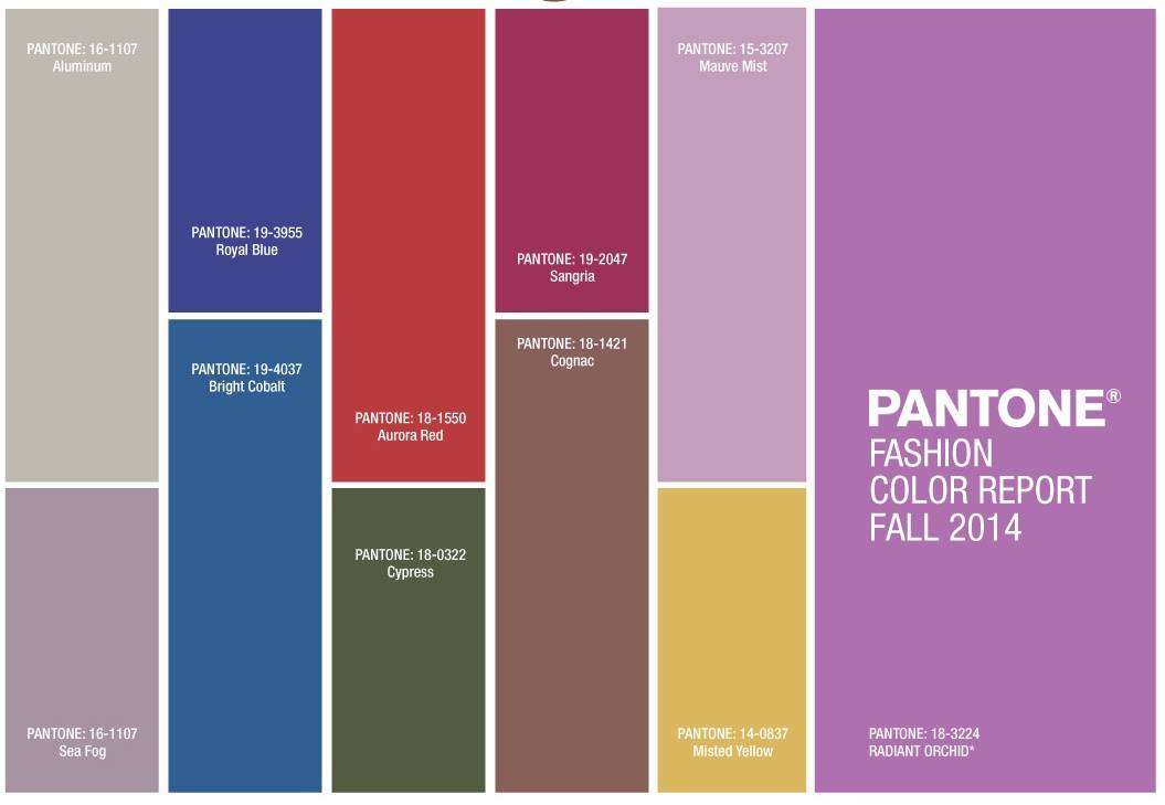 Pantone Autumn 2014 Colours