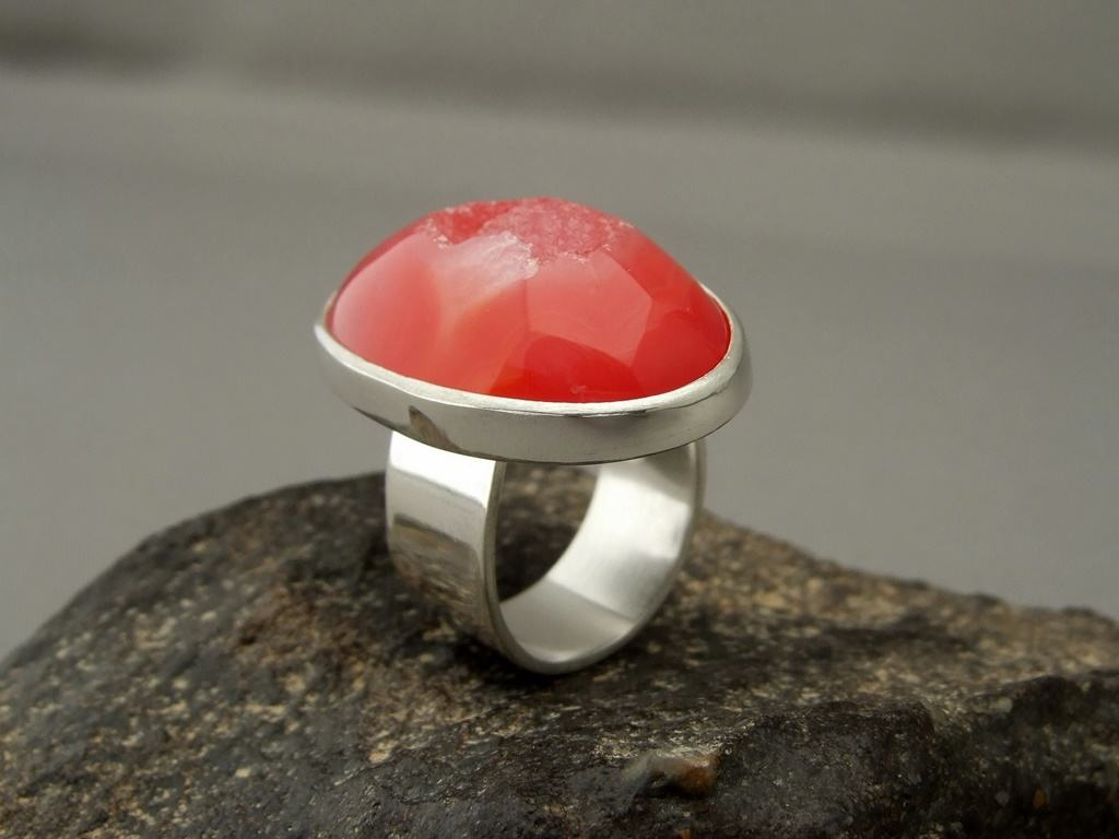 Red Drusy Agate Ring