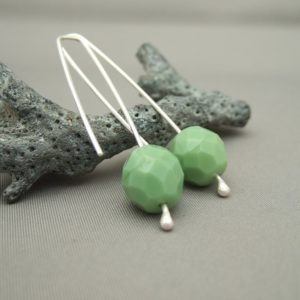 Sage Green Czech Glass and Sterling Silver Bold Earrings