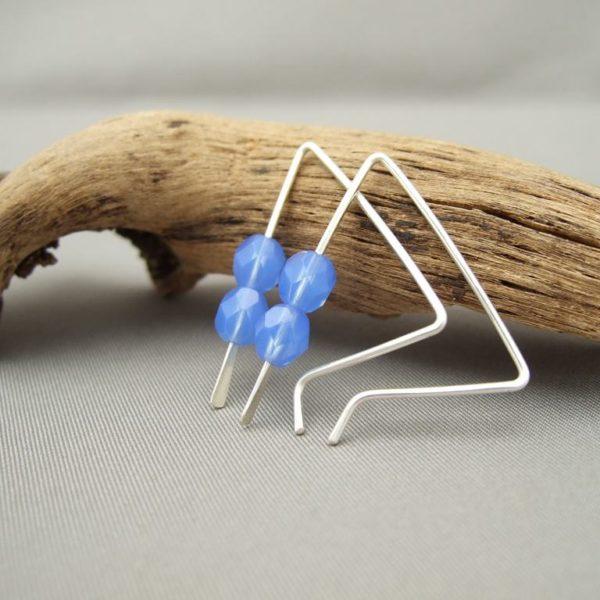 Capri Blue Czech Glass and Sterling Silver Triangle Earrings