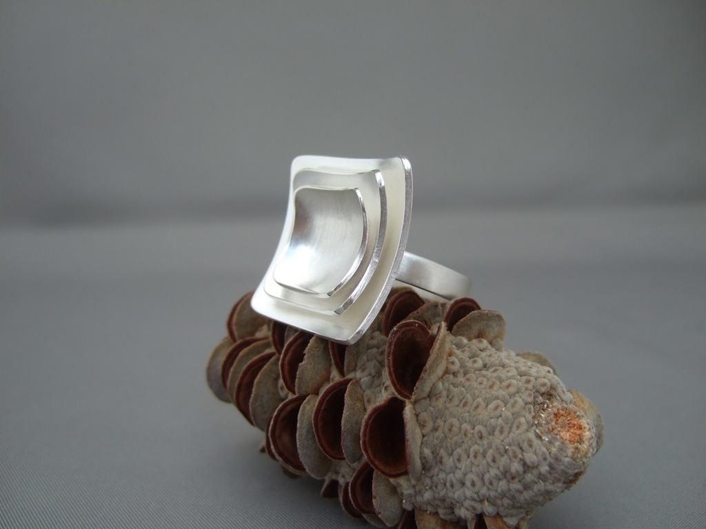 Square Domed Sterling Silver Ring