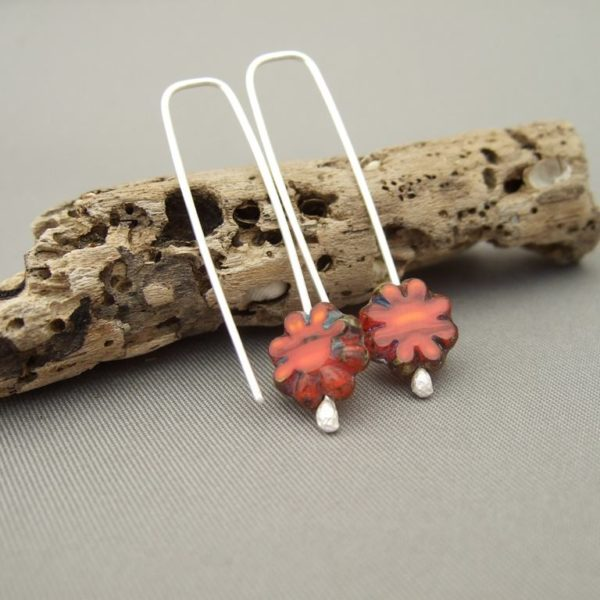 Tiny Orange Czech Glass Flower and Sterling Silver Autumn Earrings