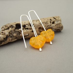 Yellow Autumn Leaf Czech Glass and Sterling Silver Modern Earrings