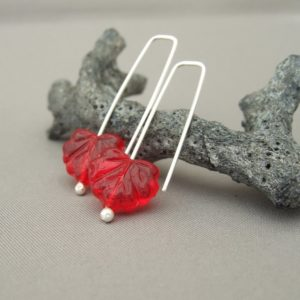 Red Leaf Czech Glass Sterling Silver Autumn Earrings