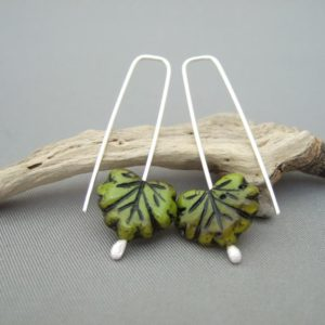 Green and Brown Autumn Leaf Czech Glass and Sterling Silver Earrings