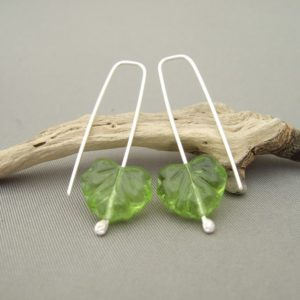 Green Autumn Leaf Czech Glass and Sterling Silver Modern Earrings
