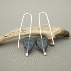 Smoky Blue Autumn Leaf Czech Glass and Sterling Silver Contemporary Earrings