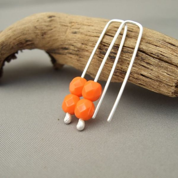 Safety Orange Matte Czech Glass and Sterling Silver Curve Earrings