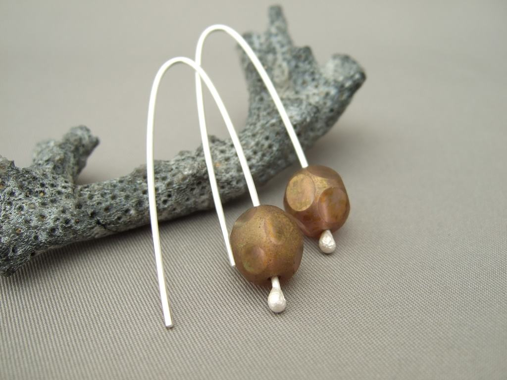 Bronze Dot Czech Glass and Sterling Silver Modern Earrings