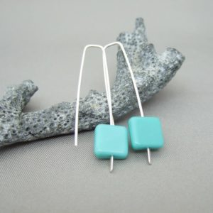 Turquoise Blue Tile Czech Glass Sterling Silver Modern Dangle Earrings