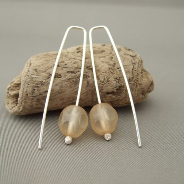 Champagne Dot Czech Glass and Sterling Silver Modern Earrings
