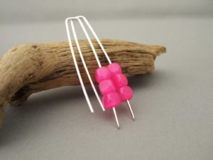 Hot Pink Cube Czech Glass and Sterling Silver Modern Earrings