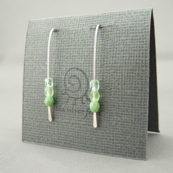 Pale Green Ombré Earrings. Czech Glass and Sterling Silver Ombre Earrings.