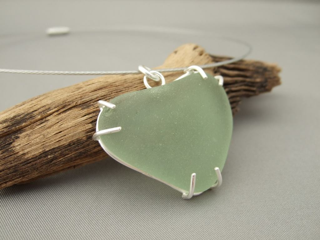 Heart Shaped Sea Glass and Sterling Silver Pendant