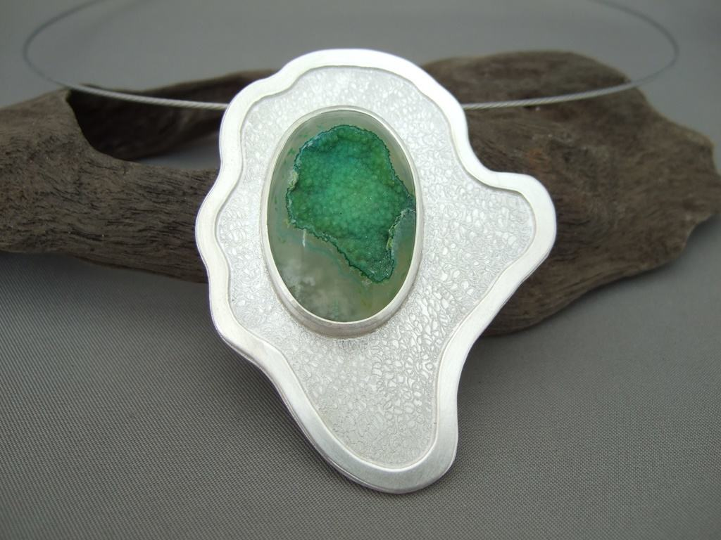 Pale Green Drusy Agate and Sterling Silver Pendant