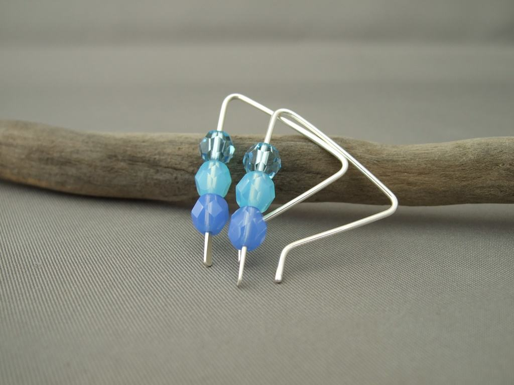 Periwinkle Ombre Czech Glass and Sterling Silver Triangle Earrings