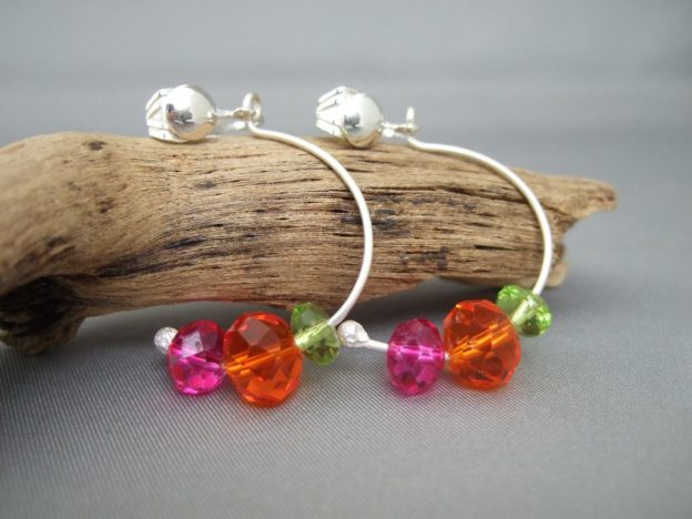 Tri-Colour Fluoro Czech Glass Clip-on Sterling Silver Hoop Earrings