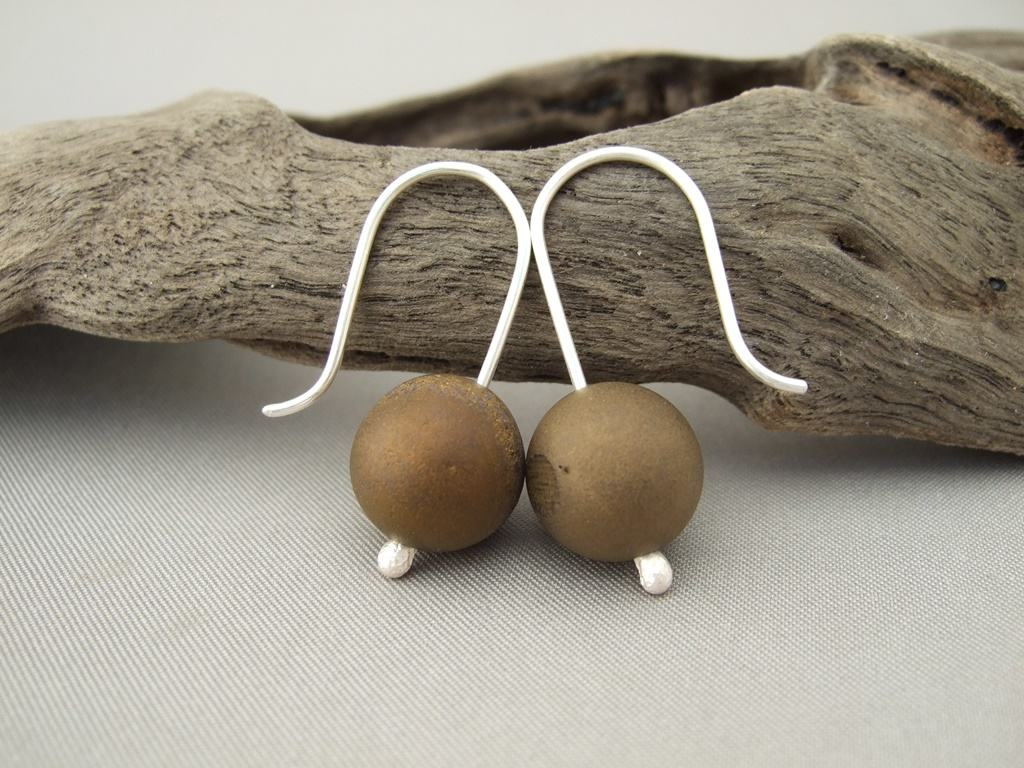 Drusy Agate Earrings - Bronze Druzy Agate and Sterling Silver Contemporary Earrings