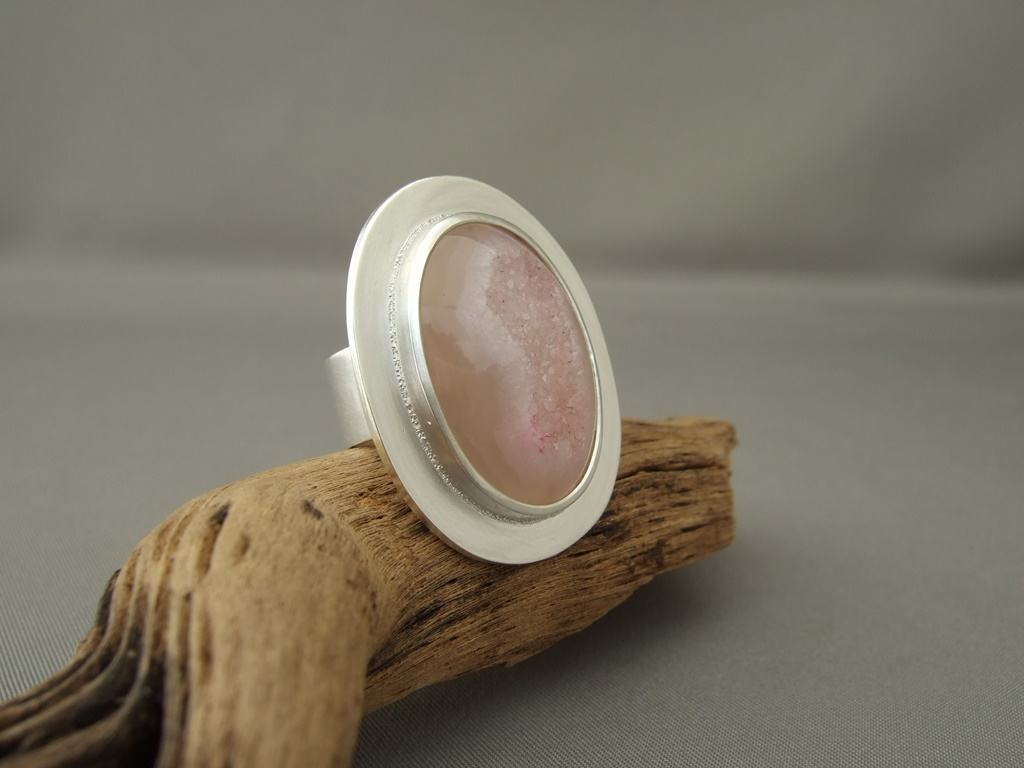 Pale Pink Drusy Agate and Sterling Silver Ring