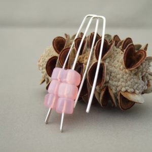 Orchid Pink Earrings - Pale Pink Cube Czech Glass and Sterling Silver Dangle Earrings