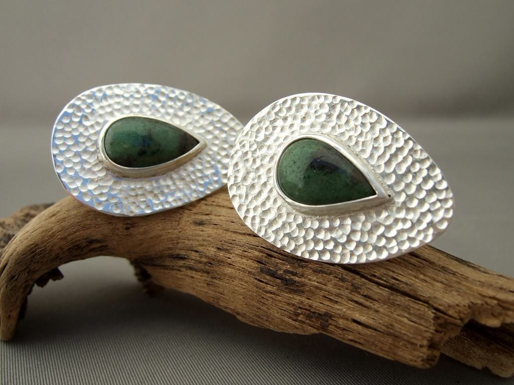 Zoisite and Sterling Silver Ring Pair