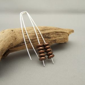 Bronze Stacked Earrings - Bronze Brown Stacked Czech Glass and Sterling Silver Drop Earrings