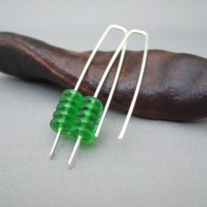 Glowing Green Stacked Czech Glass and Sterling Silver Earrings
