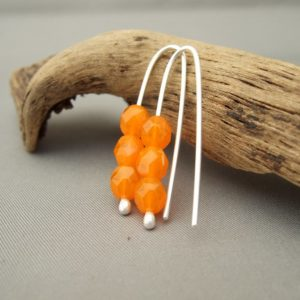 Orange Earrings - Jelly Czech Glass and Sterling Silver Earrings