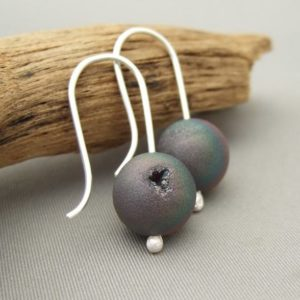 Drusy Agate Earrings - Rainbow Druzy Agate and Sterling Silver Drop Earrings