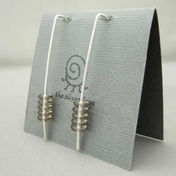 Grey Stacked Czech Glass and Sterling Silver Earrings