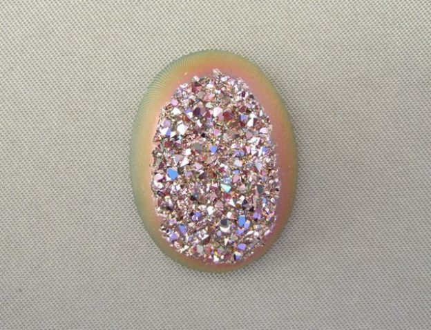 Pink Titanium Coated Drusy Agate Cabochon