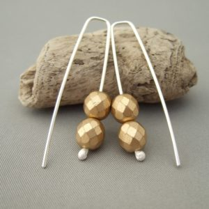 Gold & Silver Earrings - Golden Czech Glass and Sterling Silver Drop Earrings