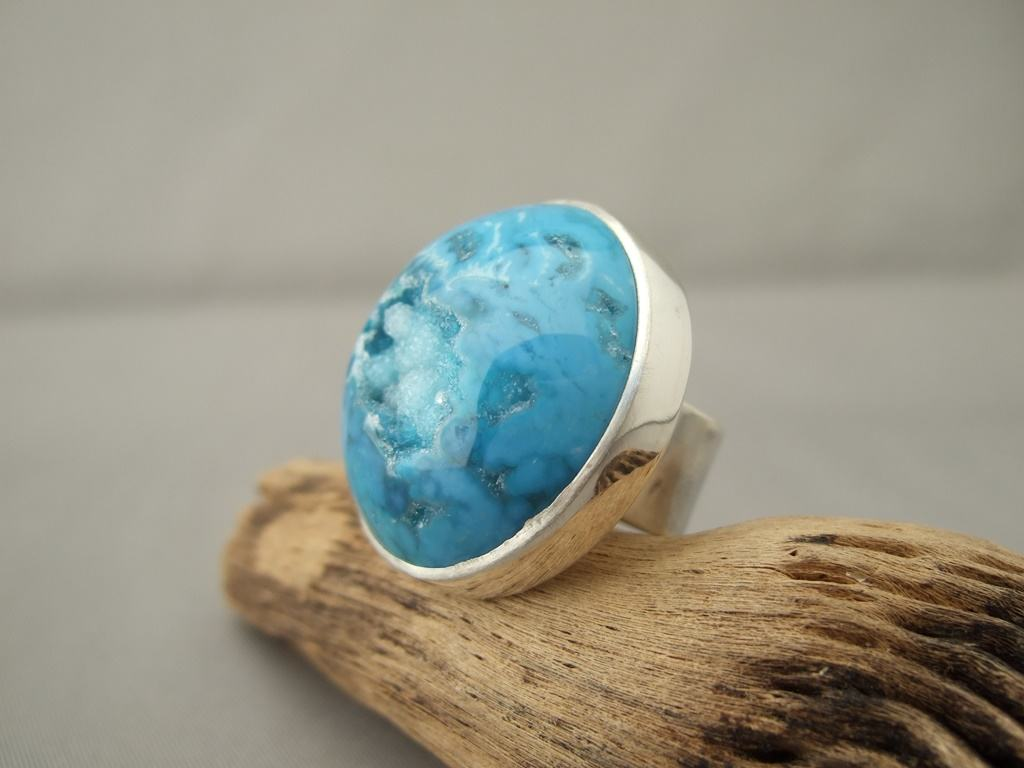 Peacock Blue Drusy Agate and Sterling Silver Ring