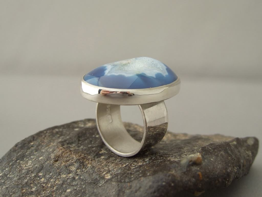 Stormy Blue Drusy Agate and Sterling Silver Ring