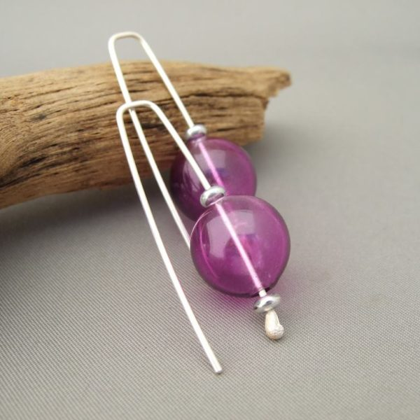 Magenta Purple Handblown Glass Bubble and Sterling Silver Earrings