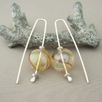 Retro Marble Swirl Handblown Glass Bubble and Sterling Silver Earrings