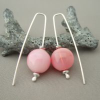 Carnation Pink Bubble Earrings - Handblown Glass and Sterling Silver Earrings